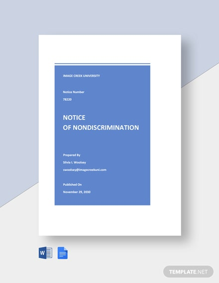 University Notice of Nondiscrimination Template