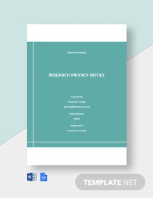 University Research Privacy Notice Template