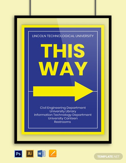 University Way Finding Sign Template