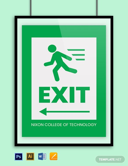 University Exit Sign Template
