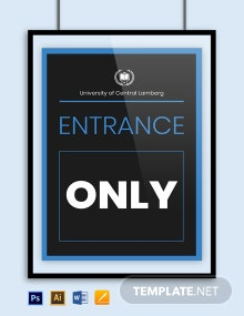 University Entry Sign Template