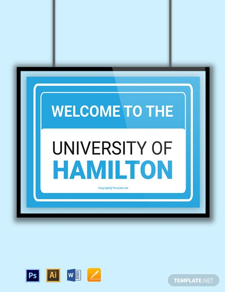 Free University Welcome Sign Template