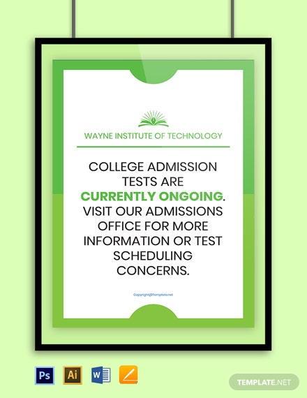 Free University College Board Sign Template