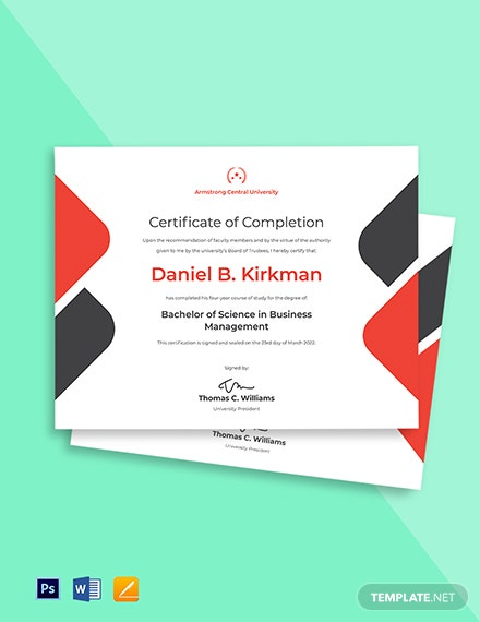 University Certificate of Completion Template