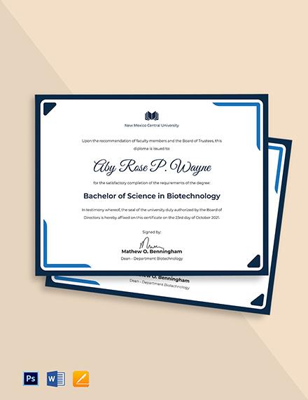 University Diploma Certificate Template