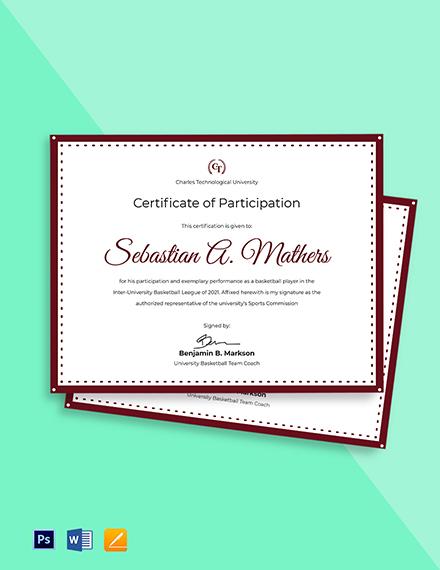University Sports Certificate Template