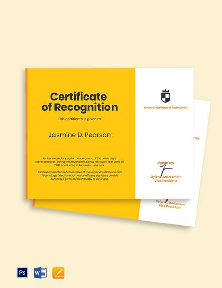 University Award Certificate Template