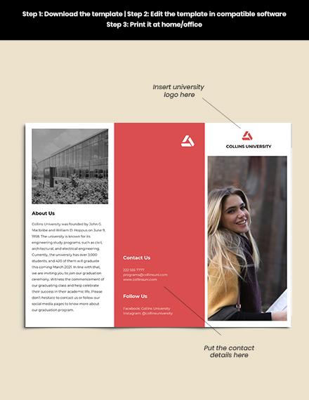 Trifold University Graduation Brochure Format