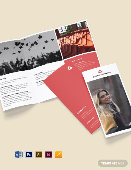 Tri-Fold University Graduation Brochure Template