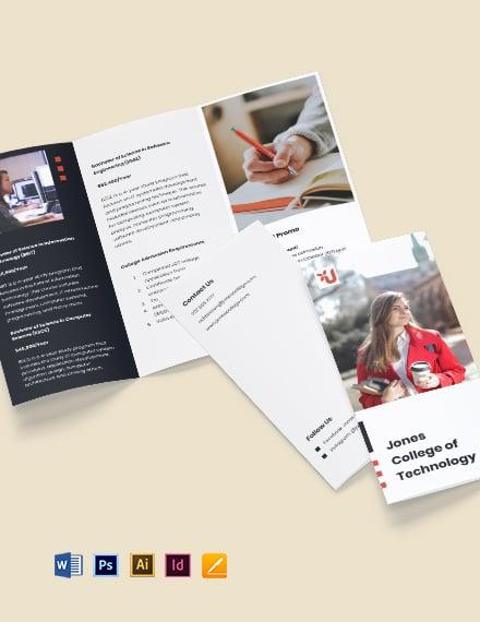 Trifold University Admission Brochure Sample