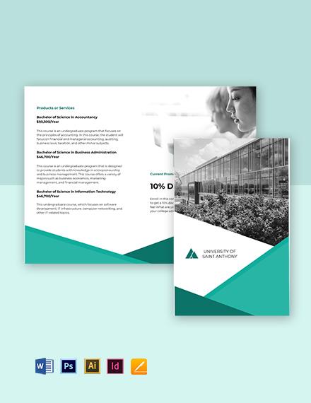 Bi-Fold University Admission Brochure Template
