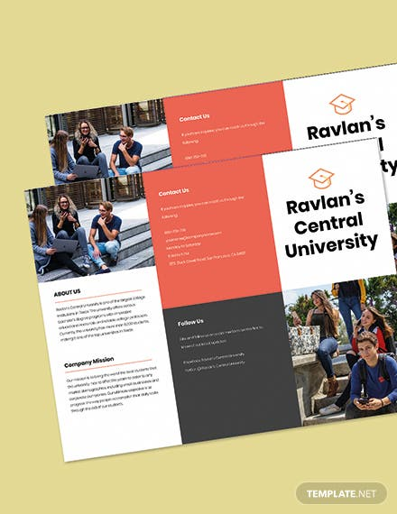 Trifold College  University Brochure Template Printable