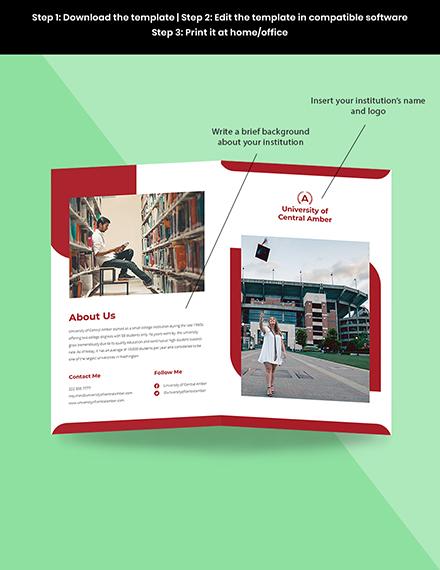 Bifold College  University Brochure Template Sample