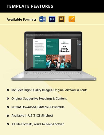 Trifold University Education Brochure Template Format