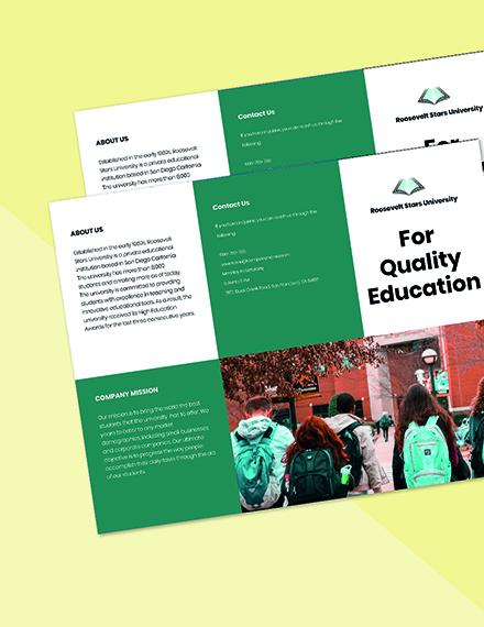 Trifold University Education Brochure Template Printable