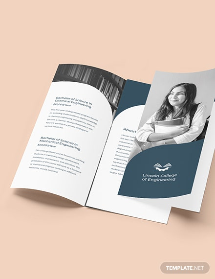 Trifold University College Brochure Template Format