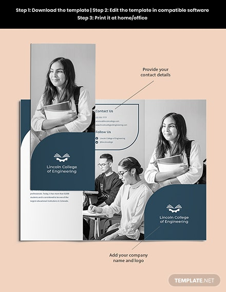 Trifold University College Brochure Template Sample