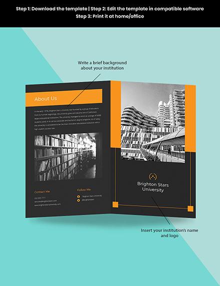 Bifold University College Brochure Template Sample