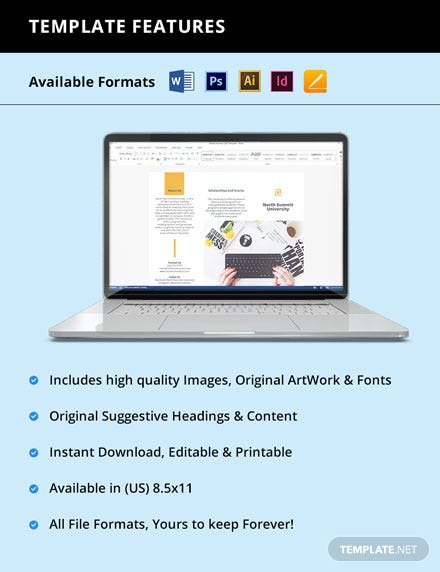 Free Elegant Trifold University Brochure Template format
