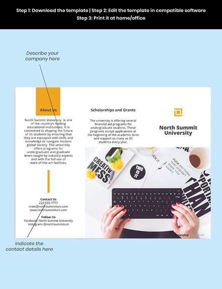 Free Elegant Trifold University Brochure Template sample