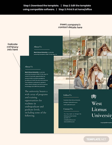 Free Simple Trifold University Brochure Template Example