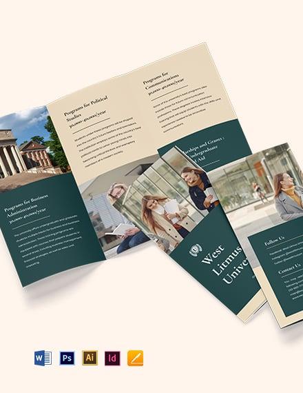 Free Simple Tri-Fold University Brochure Template