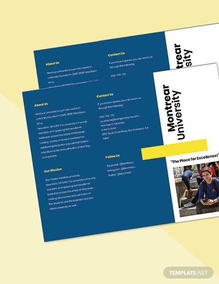 Free Modern Trifold University Brochure Template Printable