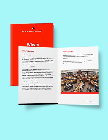Free Modern Bifold University Brochure Template Printable