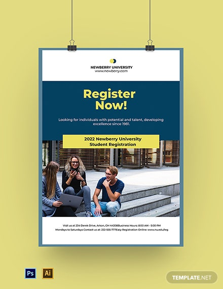 University Registration Poster Template