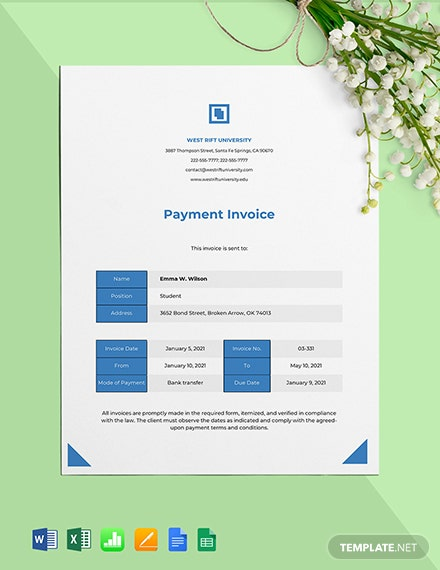 University Payment Invoice Template