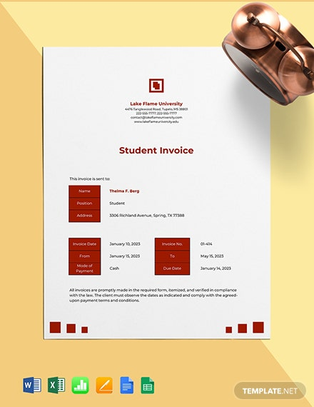University Student Invoice Template