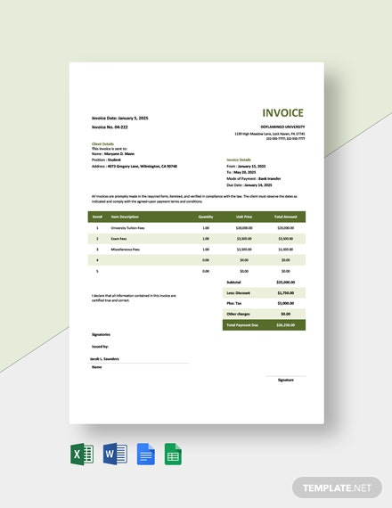 University Fees Invoice Template