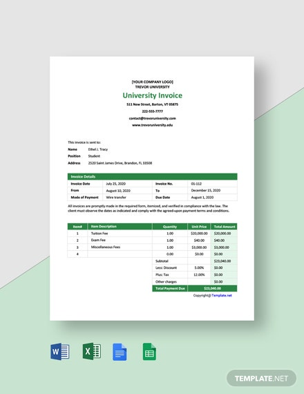 Free Blank University Invoice Template