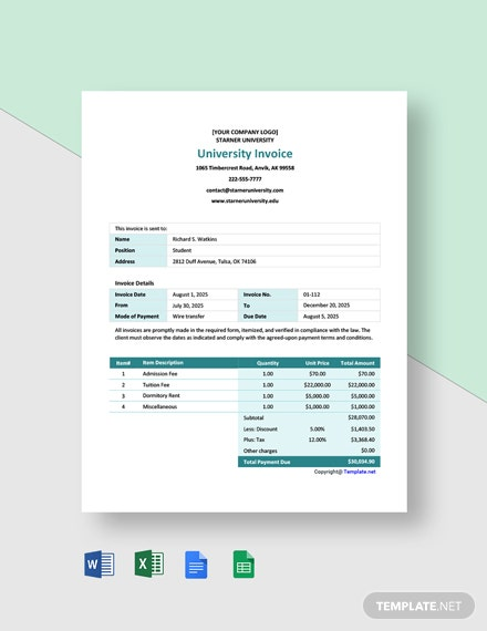 Free Simple University Invoice Template