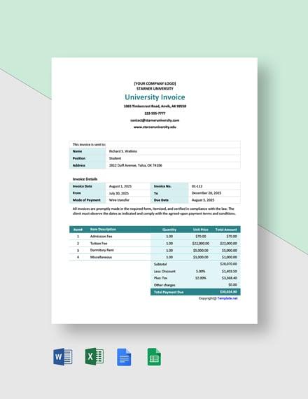 Free Simple University Invoice Template