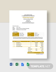 Free Sample University Invoice Template