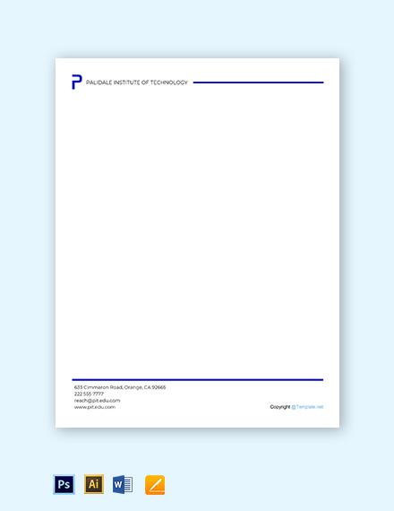 Free Simple University Letterhead Template