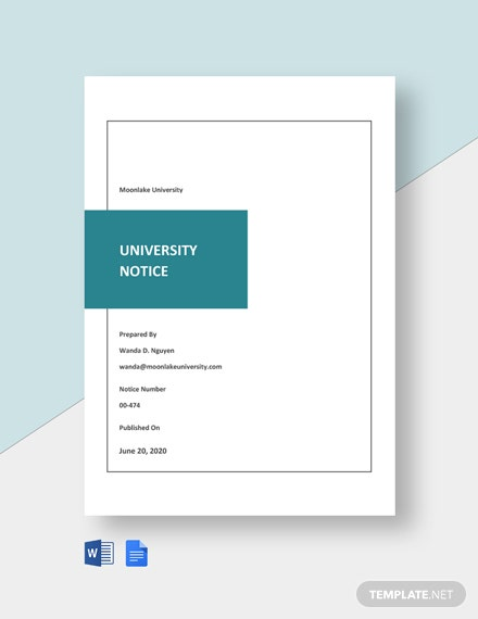Free University Notice Format Template