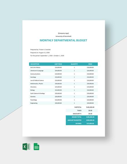 Financial University Budget Template