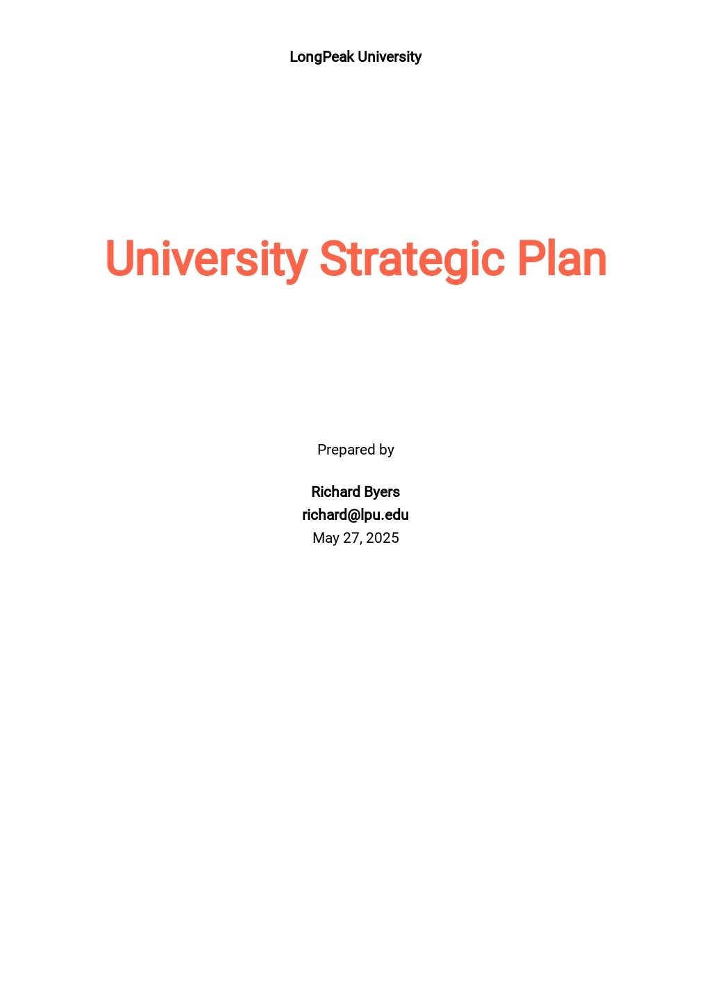 Editable University Strategic Plan Template