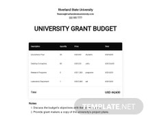 University Grant Budget Template