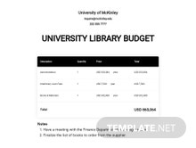 University Library Budget Template