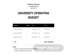 University Operating Budget Template