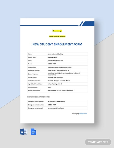 Free New Student Enrollment Form Template
