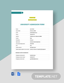 University Admission Form Template