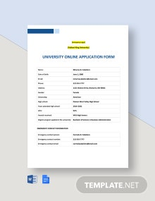 University Online Application Form Template