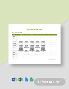 Free Basic University Schedule Template