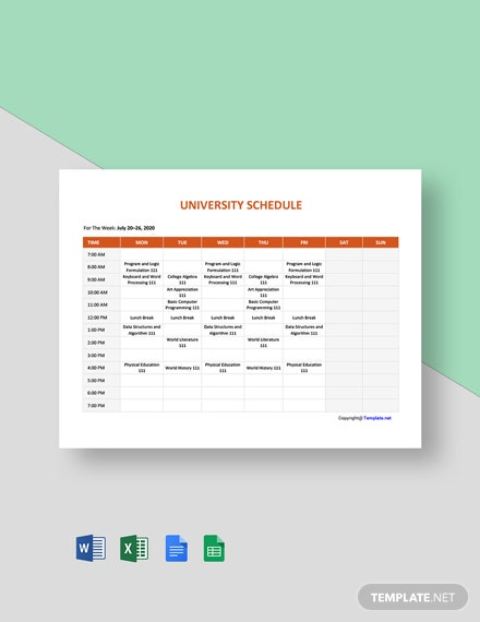 Free Blank University Schedule Template