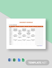 Free Blank University Schedule Template