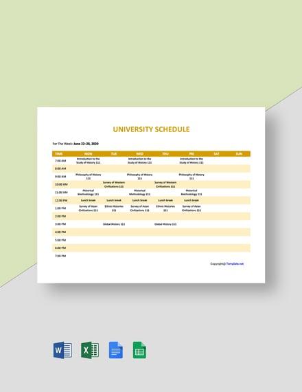 Free Sample University Schedule Template